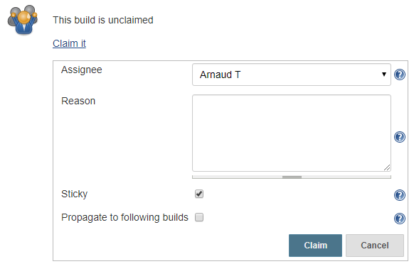 The claim details for a build