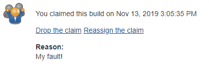 The claim info for a build