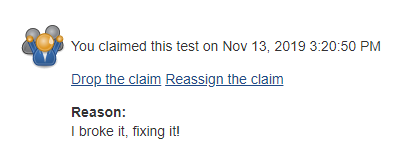The claim info for a test