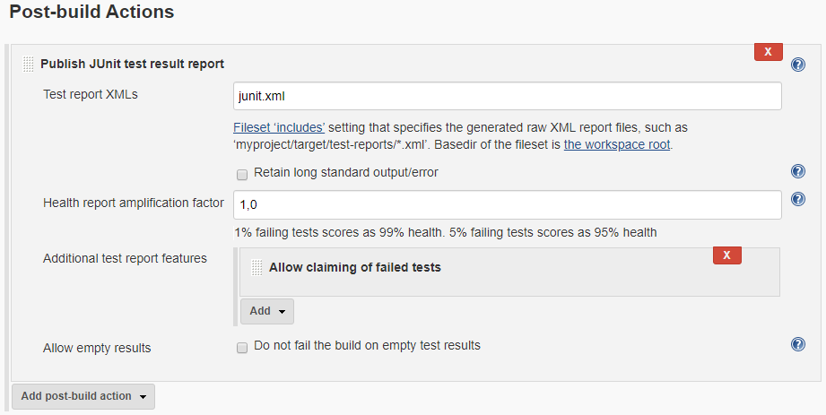 The Claim test test result report feature