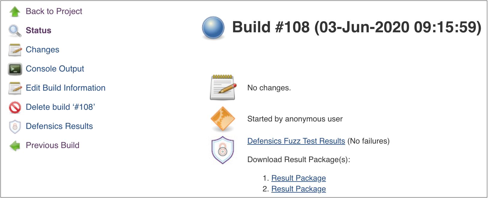 Build status page