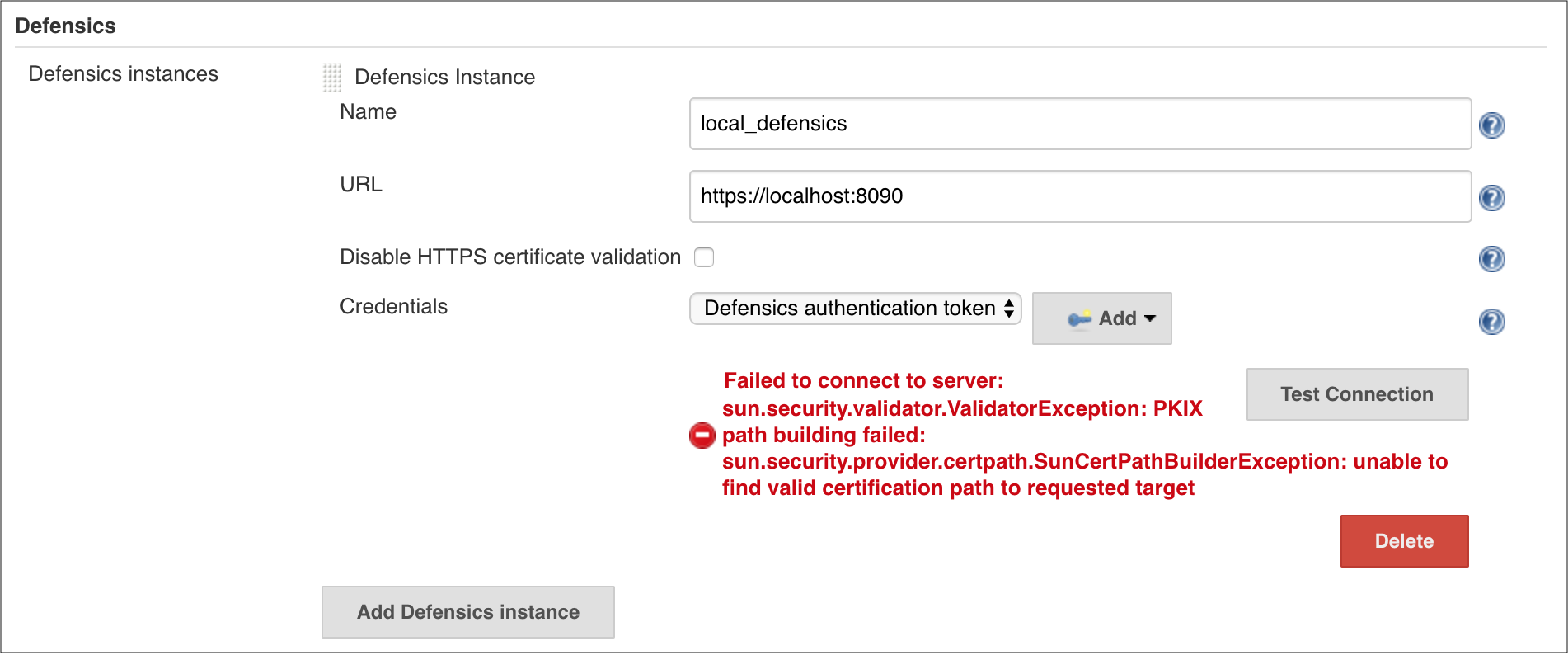 """Unable to find valid certification path"" when testing connection"