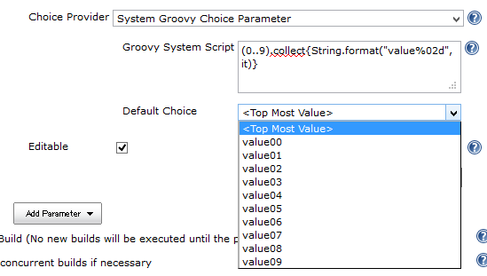 System Groovy Choice Parameter