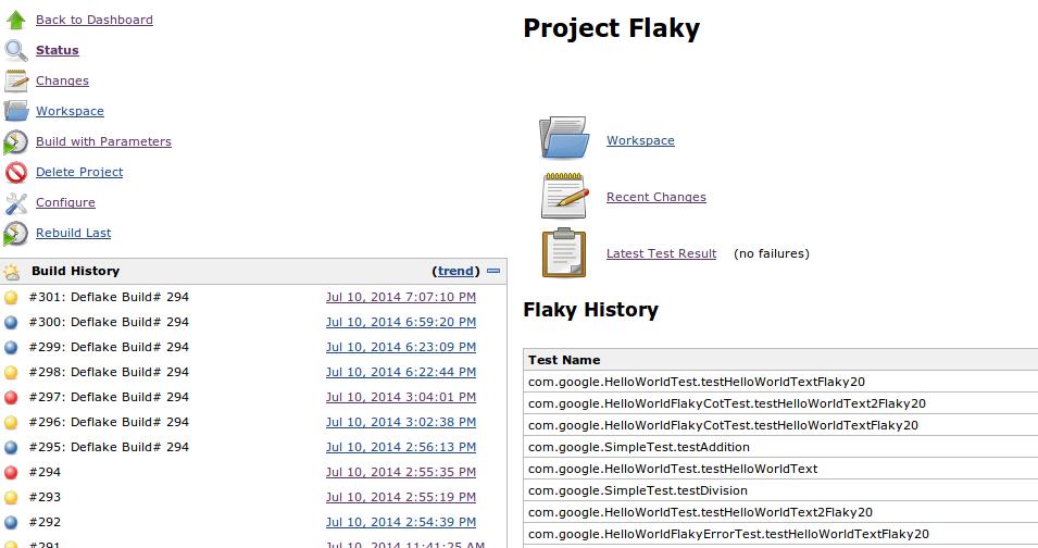 Deflake Build information