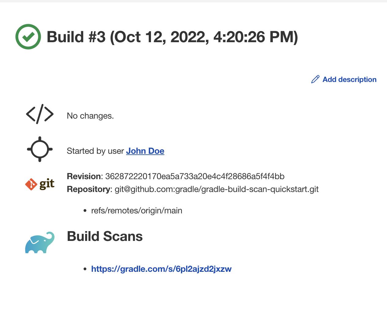 Build Scan link