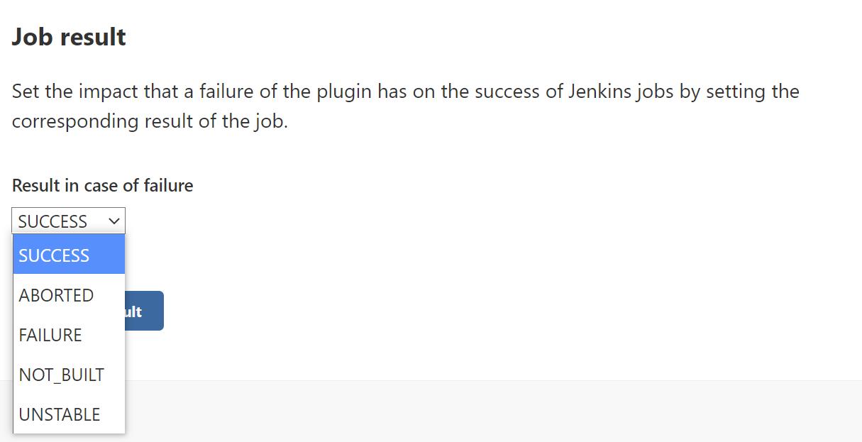 Job result setting