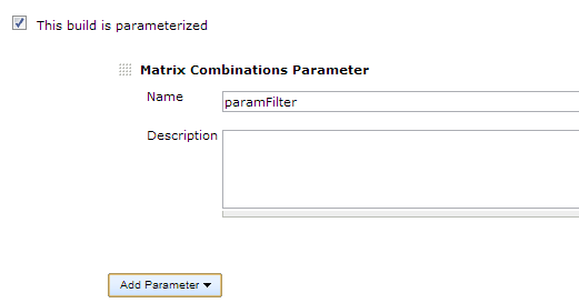 Matrix combinations parameter definition example