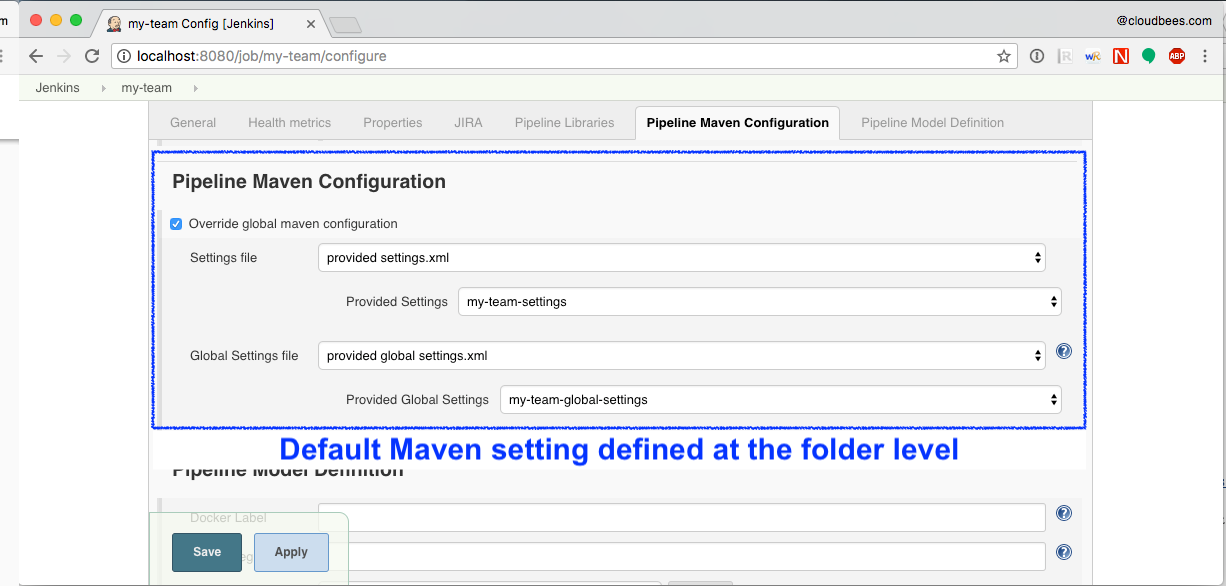 default maven settings defined at the folder level