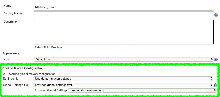 pipeline maven folder level configuration