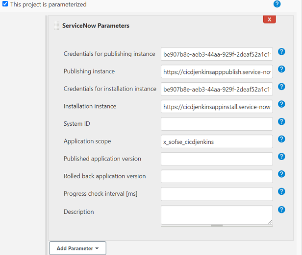 Configuration of ServiceNow Parameters