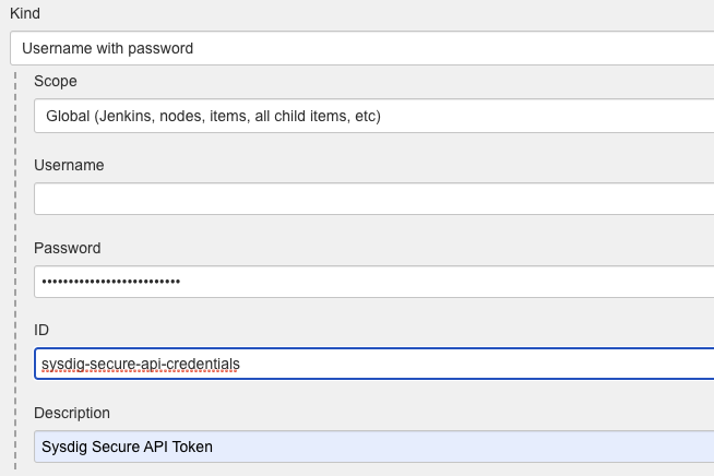 Sysdig Token Configuration