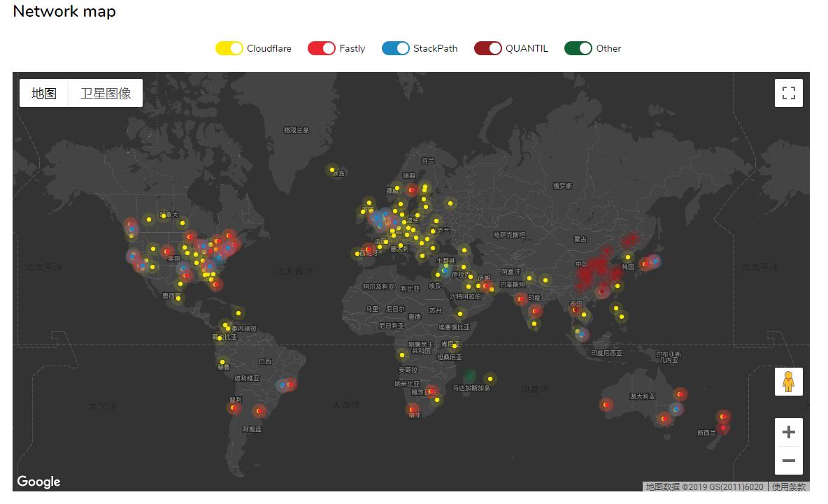 jsDelivr的全球CDN分布图