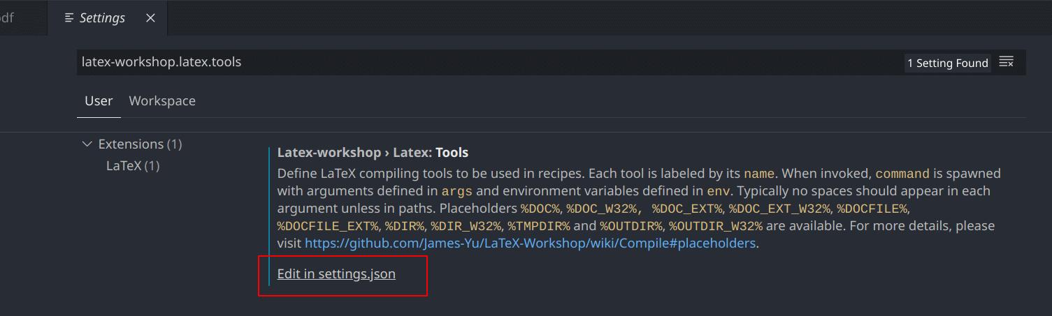編輯 latex-workshop.latex.tools 設定