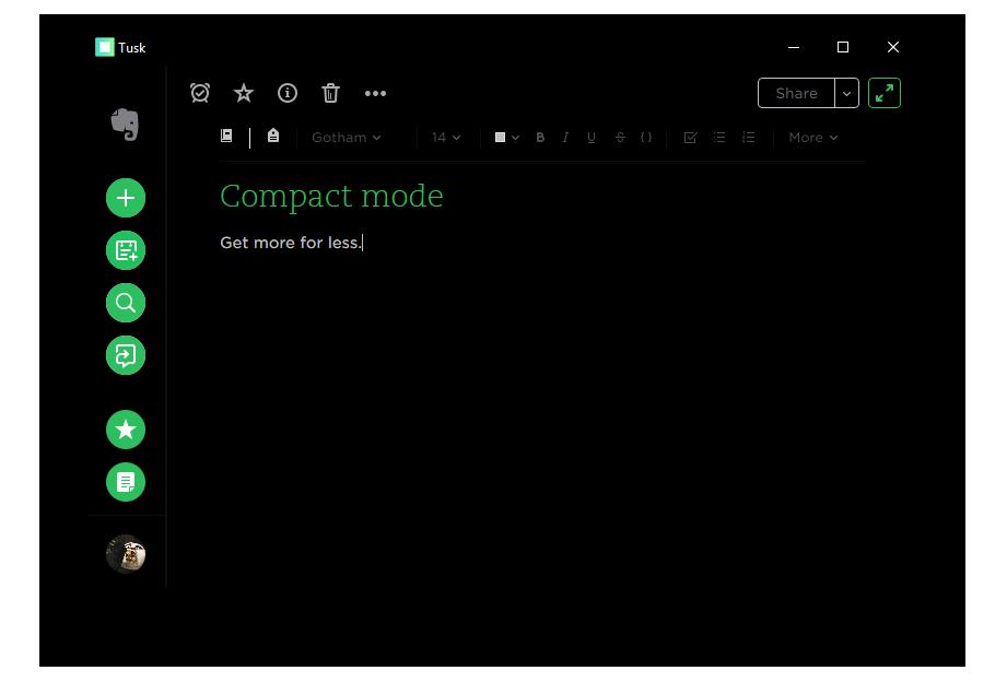 Tusk Compact Mode