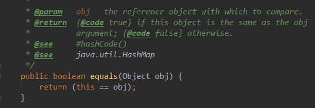Object类中的equals()实现