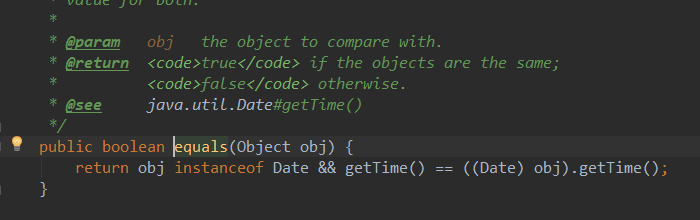 Date类中被重写的equals()