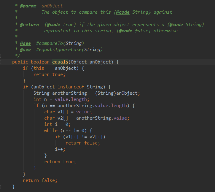 String类对equals()的实现