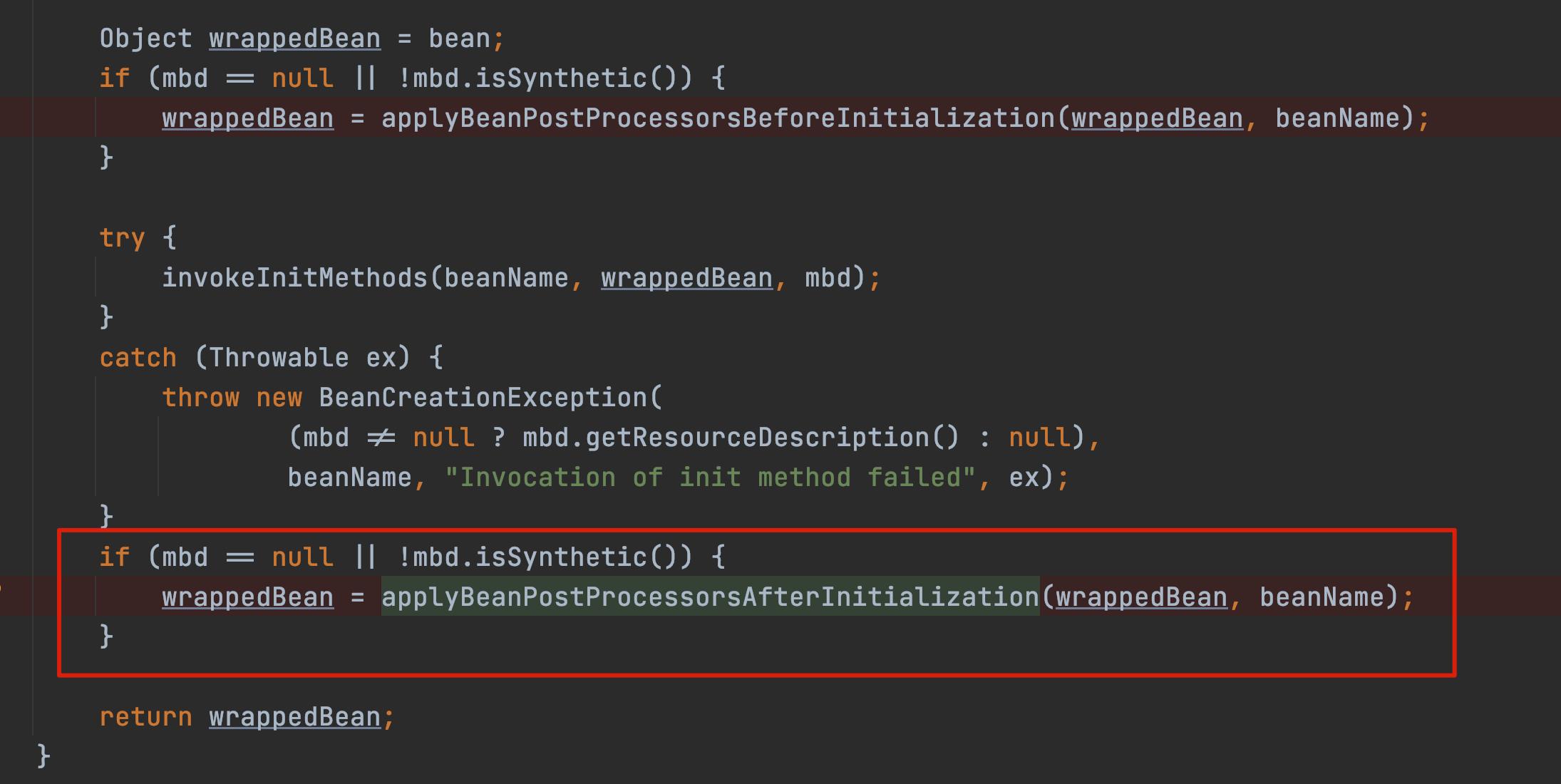 applyBeanPostProcessorsAfterInitialization