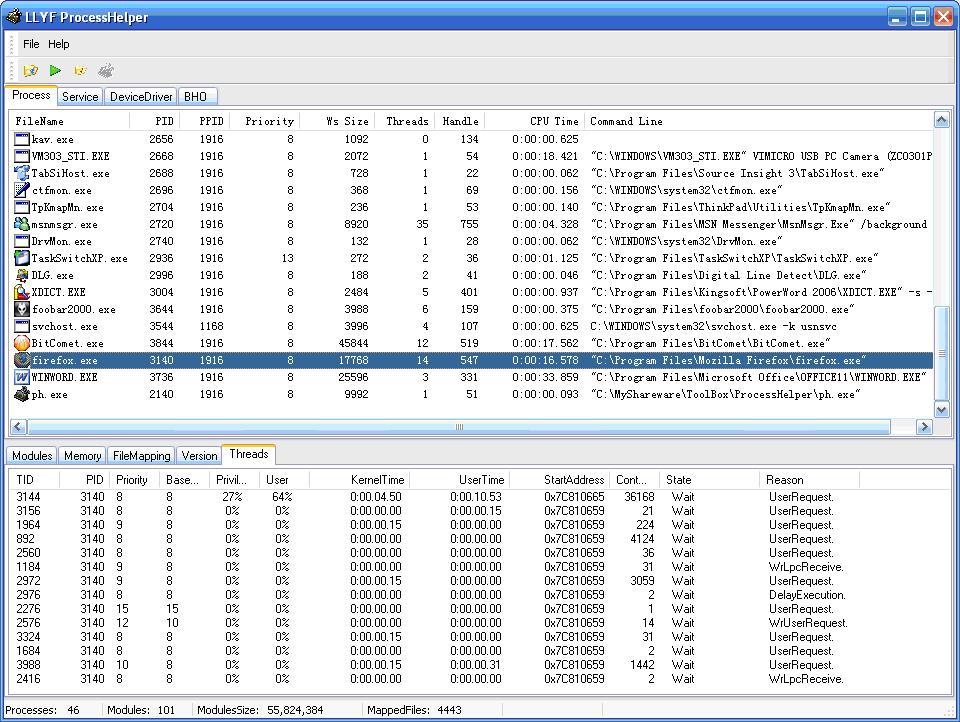 LLYF ProcessHelper Screenshot