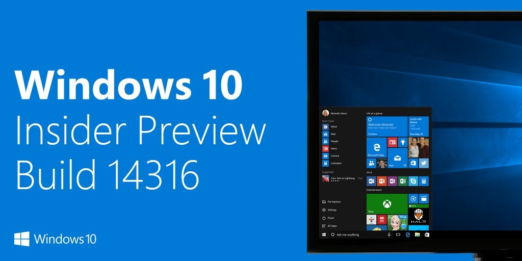 Tải về Windows 10 Insider Preview Build 14316