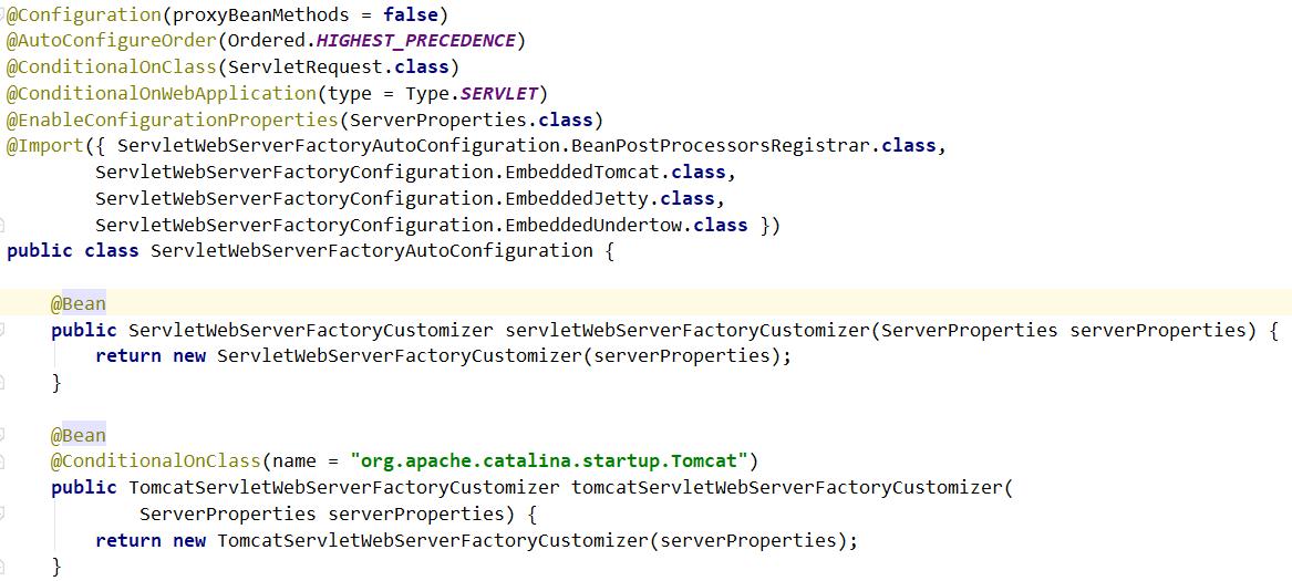 ServletWebServerFactoryAutoConfiguration 类