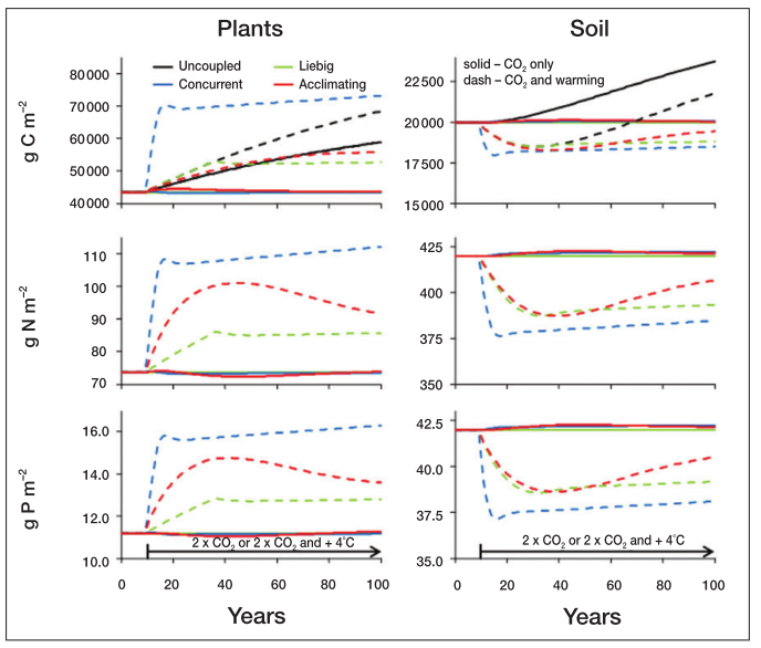 Fig. 4 in Rastetter (2011). Forest response to climate changes under the four nutrient coupling models