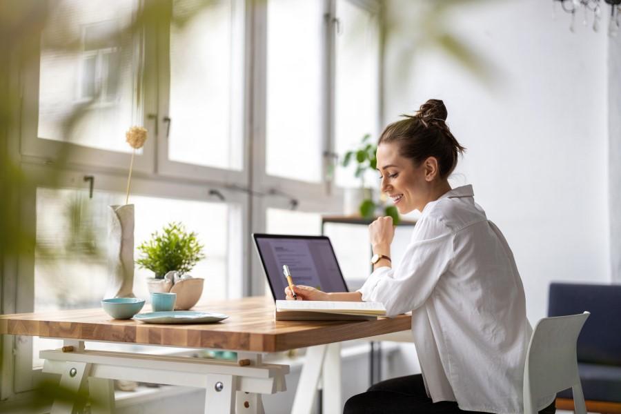 home office reinigung junge frau