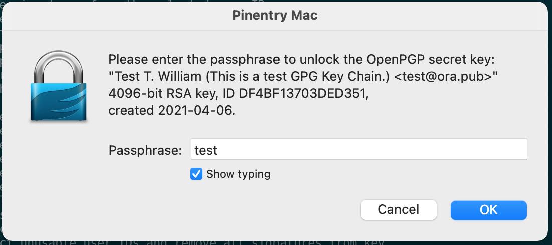 输入主秘钥的密码进行操作.