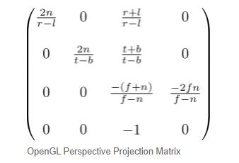 透视投影矩阵