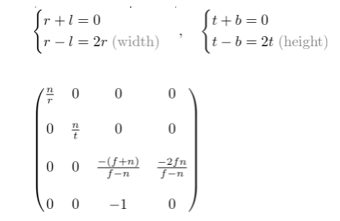 对称的透视投影矩阵