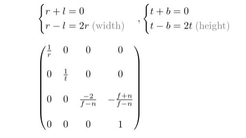 对称的正射投影矩阵
