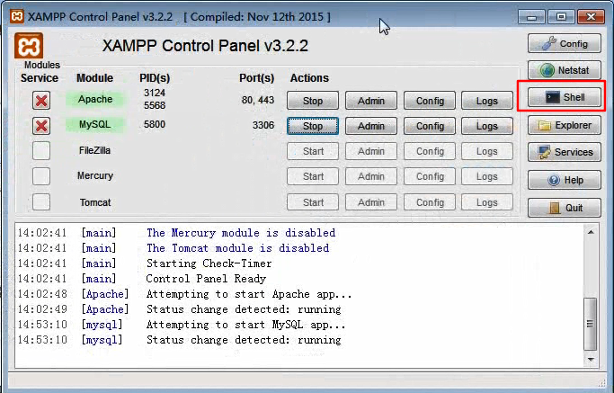 xampp进入数据库