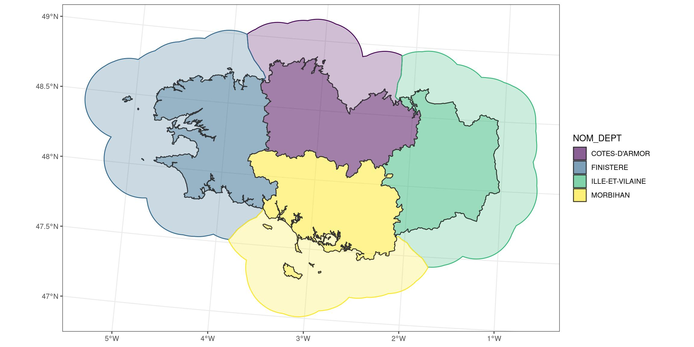 a group of adjacent marine areas with a colour coded spatial buffer added.