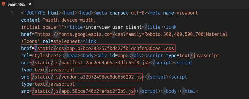 vue-cli 打包的项目 index.html 源码