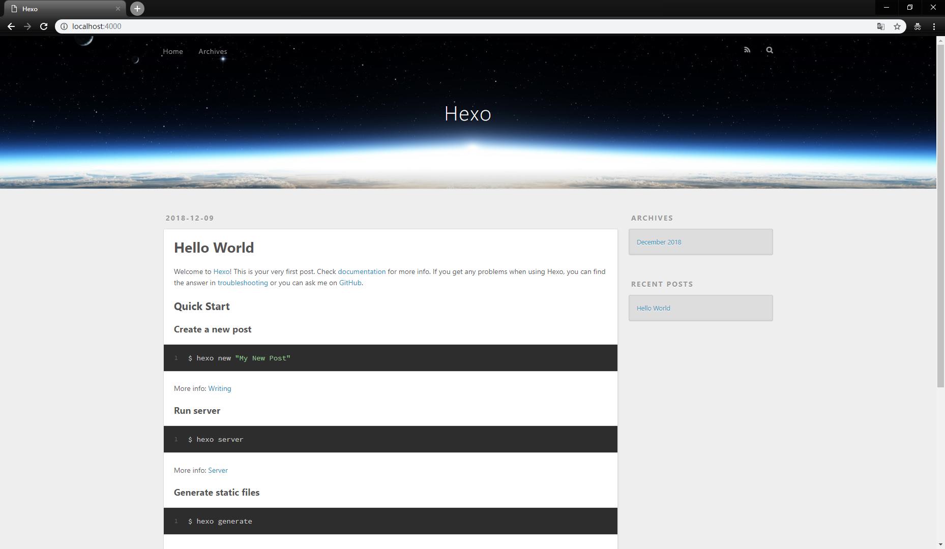 hexo 博客的初始页面