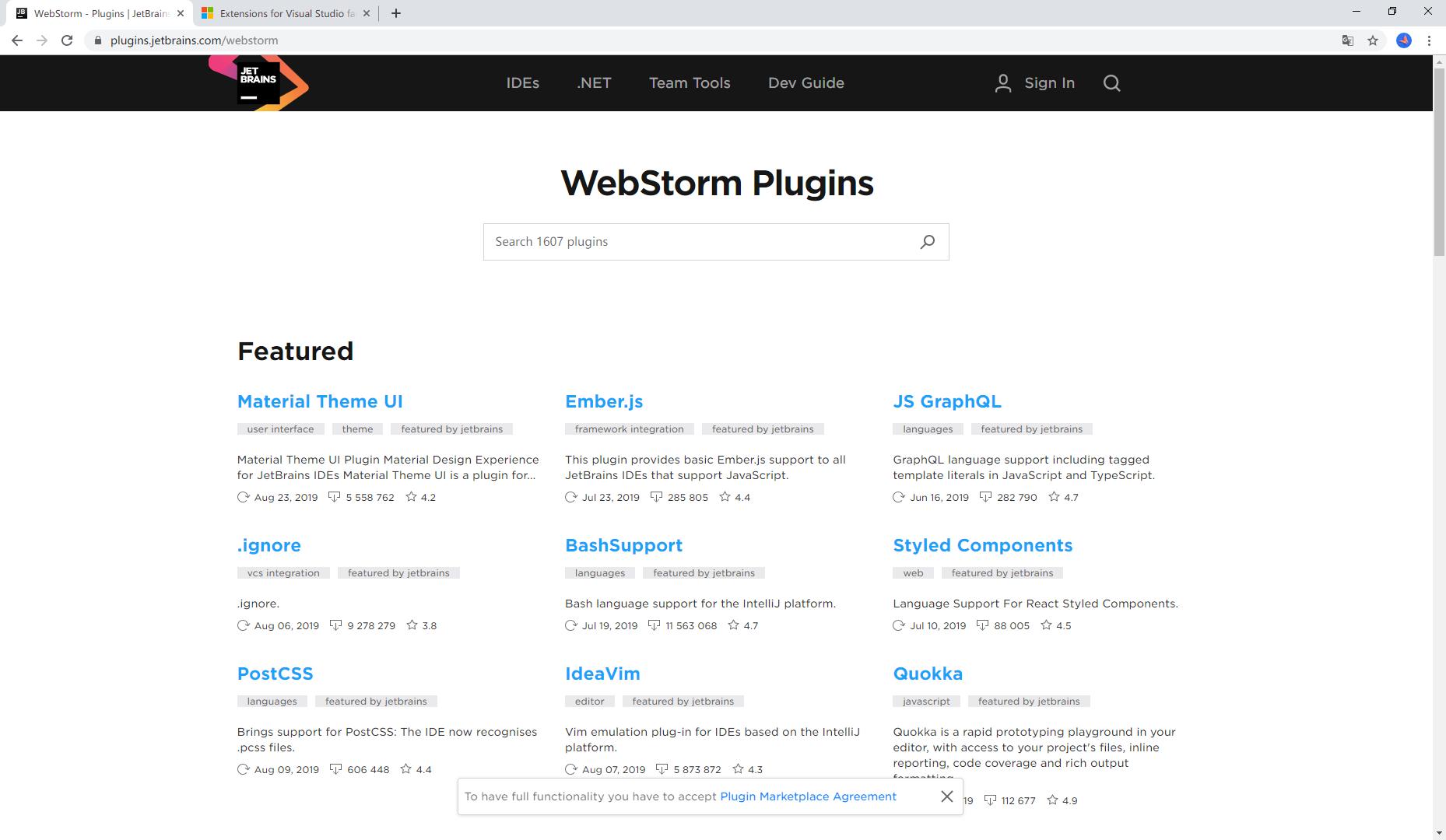 WebStorm 插件市场
