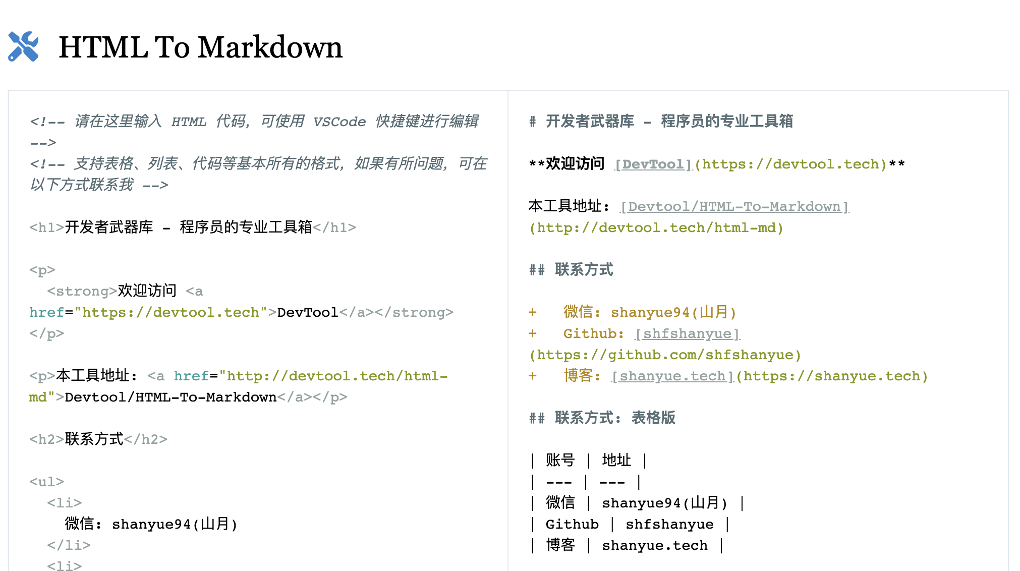 HTML To Markdown 网页版