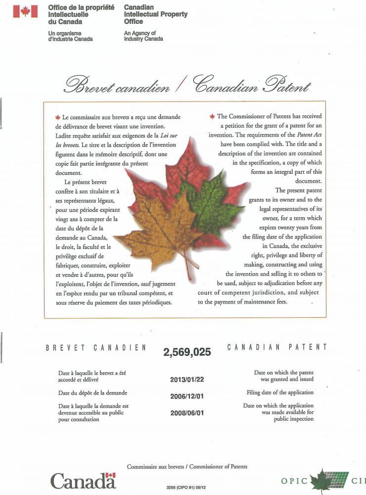 加拿大对Bioxy产品的专利证明