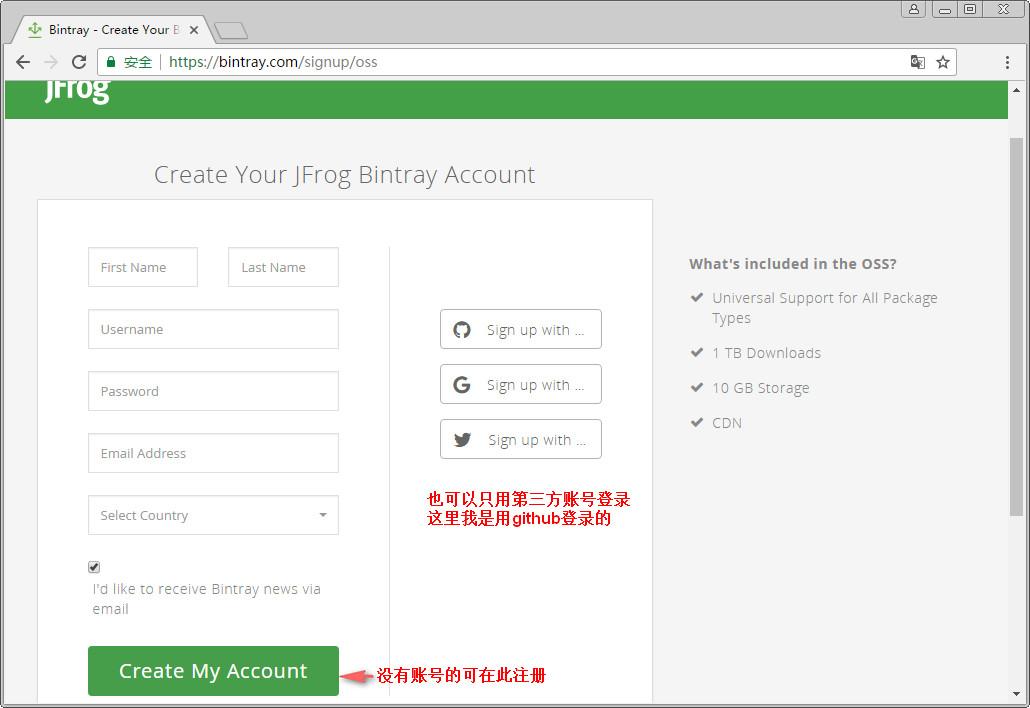 bintray的官网注册登录