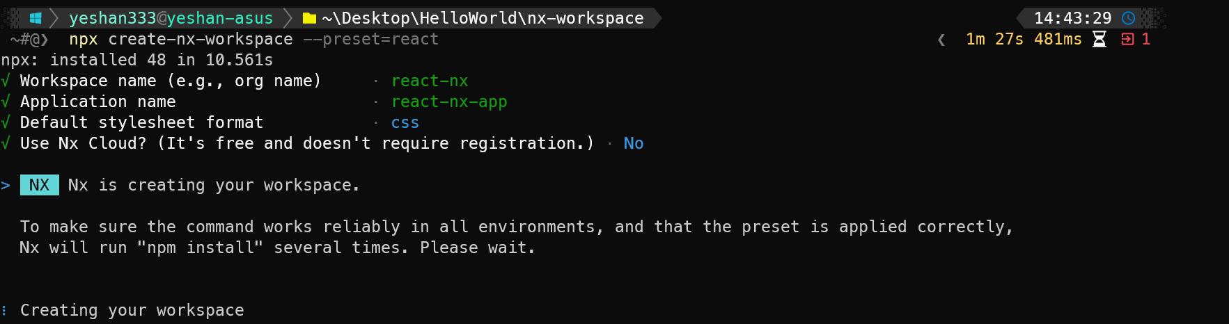 Nx create project
