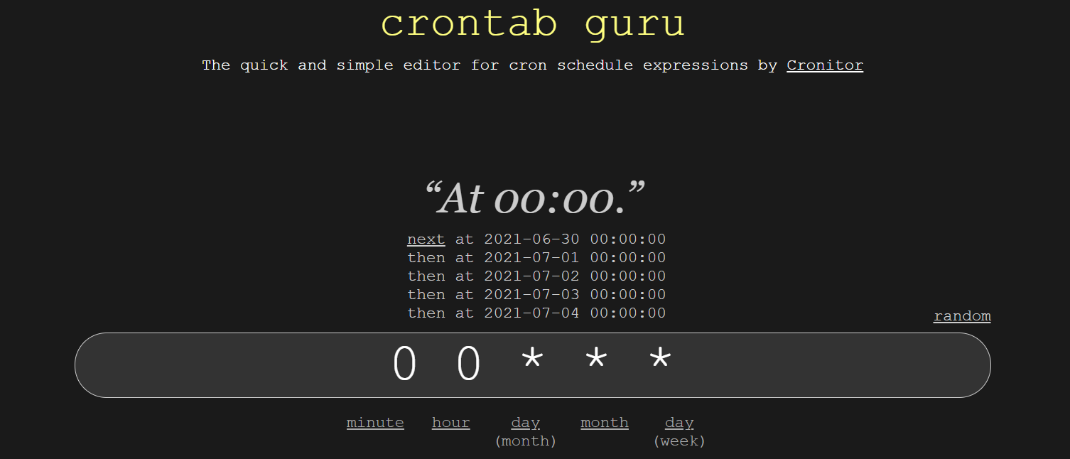 action schedule, crontab.guru