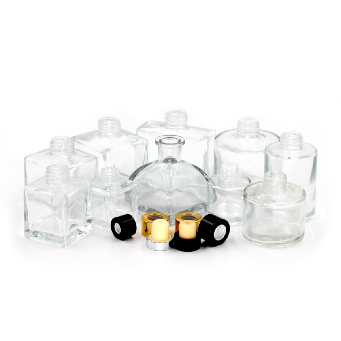 Square glass reed diffuser bottle with lid.