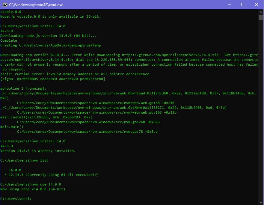 nvm 安装 v14.0.0