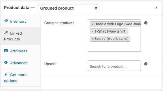 Các sản phẩm được nhóm lại.
