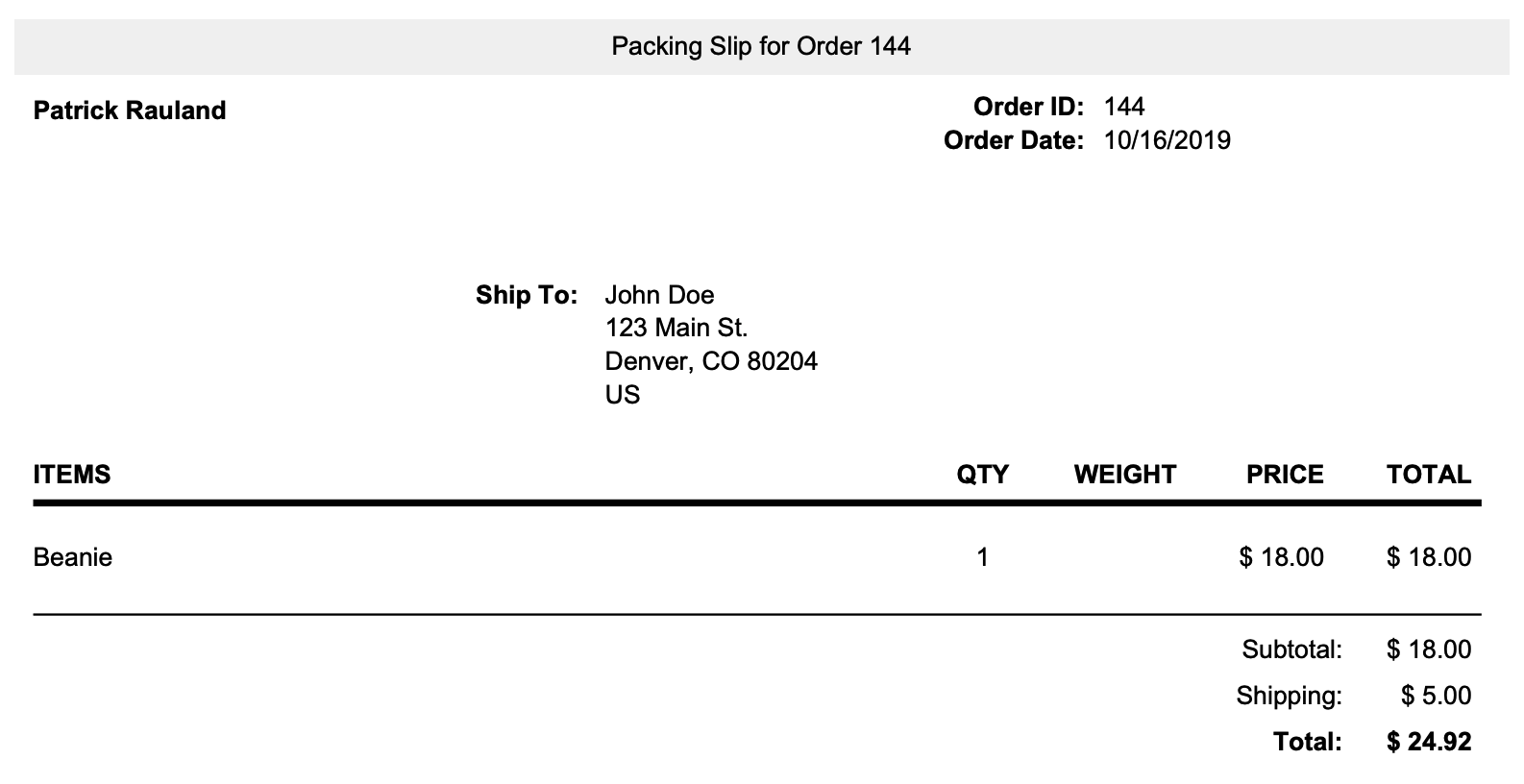Thực hiện đơn đặt hàng với Shippo.
