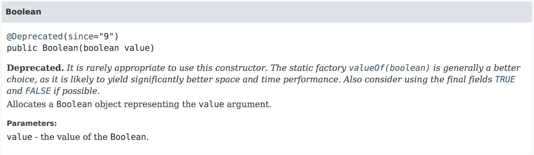 JavaDoc 关于 Boolean 的说明截取
