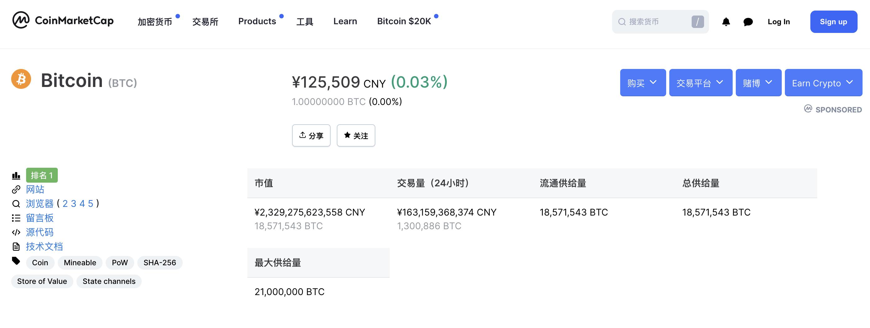 来源:https://coinmarketcap.com/zh/currencies/bitcoin/