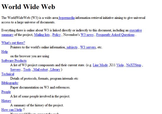 1991 年创建的第一个网页