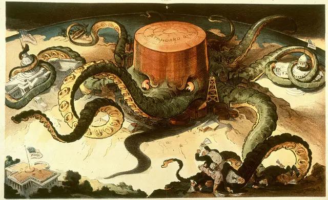 1904 年,政治讽刺画家 Keppler 将标准石油描述成章鱼一样控制着政府、民众/ 图片来源:wiki