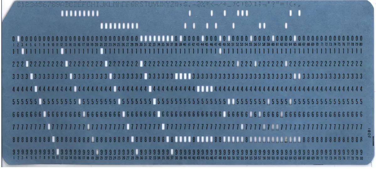 20 世纪典型的 80 系穿孔卡片